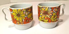 Set 2 Vtg 70s Retro Stackable Coffee Mug Cups Orange Fall Flowers Heart Handle