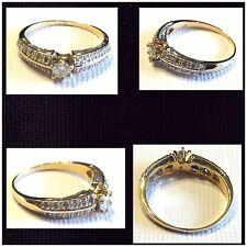 0.32 CARAT TW (25 PCS) GENUINE DIAMOND 14K SOLID YELLOW GOLD RING