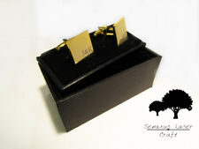 Engraved Gold Cufflinks & Personalised Gift Box Cuff Links Usher Groom gcls6