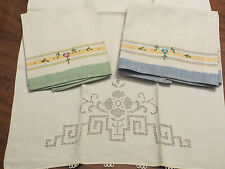 3 100% cotton dish hand towels embroidered blue green yellow cut work
