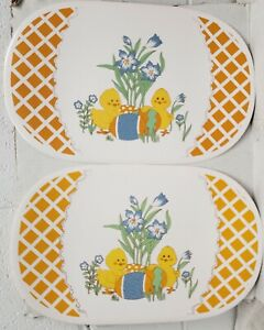 """Set of 2 Kitchen Vinyl NON CLEAR OVAL Placemats(18""""x12"""") EASTER CHICKS & EGGS,BH"""