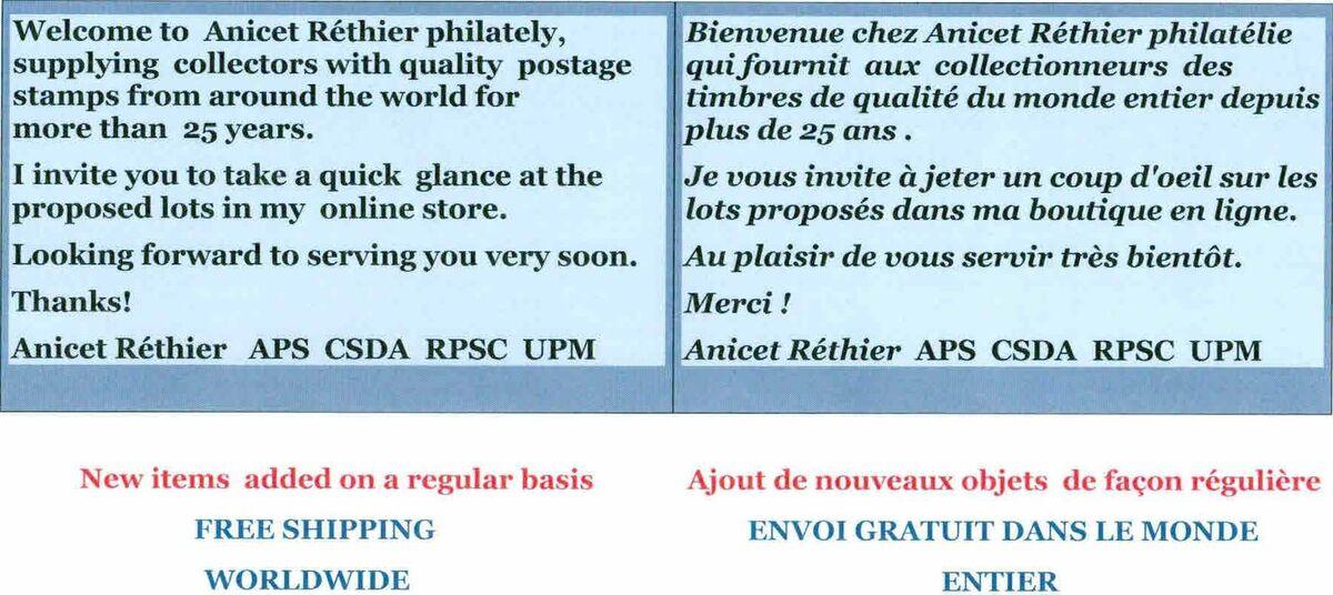 ANICET RÉTHIER philatélie/philately