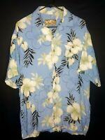 Carribean Blues Mens Large Hawaiian Short Sleeve Button Down Floral Shirt EUC