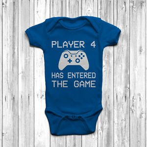 Player 4 Has Entered The Game Baby Grow Body Suit Vest Funny Geeky Humour