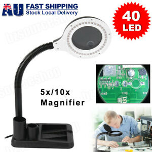 AU Plug Magnifying Crafts Glass Desk Lamp With 5/10X Magnifier & 40 LED Light