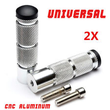 High Quality 2X CNC Aluminum Motorcycle Footrests Foot Peg Pedal Rear Set Silver
