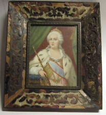 Antique Miniature Painting Portrait of Queen Catherine the Great of Russia