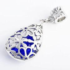 Vintage Water Drop Hollow Flower Sapphire Pendant Bead Fit Snake Chain Bracelet