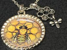 "Honey Bee on Honeycomb Charm Tibetan Silver 18"" Necklace BIN"