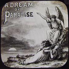 Glass Magic Lantern Slide DREAMS OF PARADISE NO1 C1890 VICTORIAN TALE ANGEL
