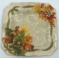 222 Fifth AUTUMN CELEBRATION Square Dinner Plate Thanksgiving Fall Leaves
