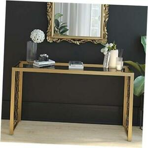 CosmoLiving Juliette Glass Top Metal Console Table Gold Console table