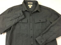 mens L LL BEAN CHAMOIS cloth shirt GRAY button front long sleeve traditional fit