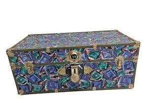 Vintage 1980s STEAMER TRUNK chest storage toy box decor NEW WAVE memphis group