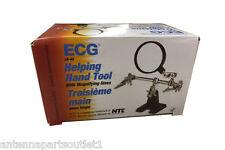 ECG JA-40 Helping Hand Tool w/ Magnifying Glass & Alligator Spring Holding Clip