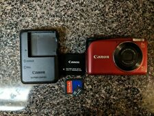 Canon PowerShot A2200 14.1 MP Digital Camera Red w/ Charger SD Card Must See