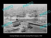 OLD LARGE HISTORIC PHOTO OF LANSING MICHIGAN THE LANSING WHEEL COMPANY c1900