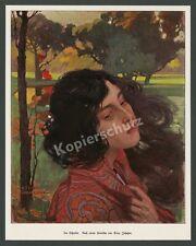 """Artur Johnson """"Im Schatten"""" Melancholie Porträt Frau Jugendstil Lebensrefom 1903"""