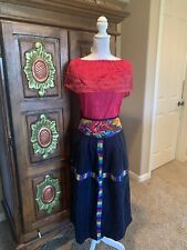 Hand Woven on back loom Mayan embroidered skirt Oaxaca Mexico