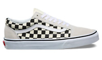 Vans Men's UA Old Skool Checkerboard Sneakers, White/ Black