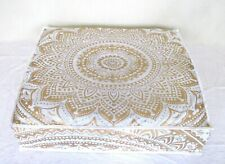"35X6"" Meditation Floor Seating Mandala Printed White Gold Cotton Cushion Cover"