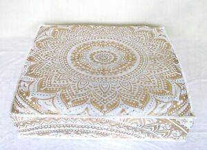 "35X35"" Meditation Floor Seating Mandala Printed White Gold Cotton Cushion Cover"