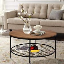 Wood Top Round Coffee Table w/ Storage Open Shelf Sturdy Durable Metal Frame
