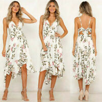 Women Summer Dress Sexy Backless Bow Print V Neck Sleeveless Sexy Flower Dress