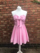 Jones And Jones Pink Strapless Skater Swing Dress Tight Fitted Bow Size 8 B7