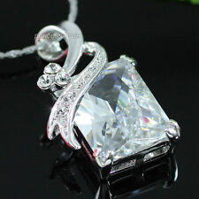 7 Carat Emerald Cut CZ Stone Pendant w/ Necklace SN209