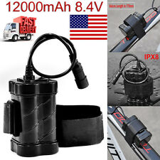 WaterProof 8.4V 12000mAh 4x 18650 Battery Pack For Head lamp Bicycle Light US