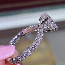 925 Silver Fashion Women Jewelry White Topaz Proposal Bridal Wedding Ring Size 8