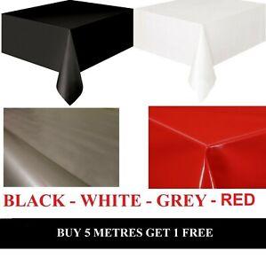 Premium Plain Tablecloth Wipe/Clean Vinyl Oil Cloth PVC Table Protector Fabric