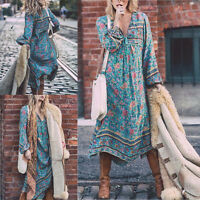Fashion Women Summer Vintage Floral Print Long Sleeve Party Boho Long Maxi Dress