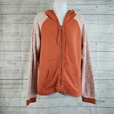 Fresh Produce Womens Hoodie Sz Medium Orange Knit Sleeves Full Zip
