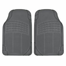 Gray Rubber Floor Mats for Car - Heavy Duty 2pc Set All Weather Safeguard Grey
