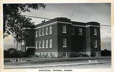 Chapleau Ontario~Bikes Along Stone Foundation of High School~RPPC 1953