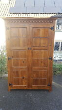 A Beautiful Solid Aged Panelled Chunky Pine Stylish Wardrobe with Hoop Handle