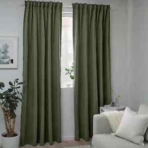 BLAHUVA Blackout curtains, 1 pair, green, 57x98