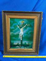 Antique-VTG Picture Frame Wood Holographic Jesus on Cross INRI 3D Catholic Print