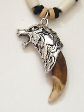 """WOLF Amulet Head Necklace Brown Coyote Tooth Bone Beads 16""""-28"""" Cord Adjust NEW"""