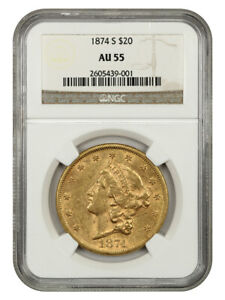 1874-S $20 NGC AU55 - Liberty Double Eagle - Gold Coin