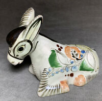 Vintage Mexican Tonala Pottery Small Clay Donkey Sculpture Hand Painted Signed