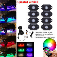 8X Pod RGB LED Rock Off-Road Under Wheel Light Wireless Bluetooth & Manual Modes
