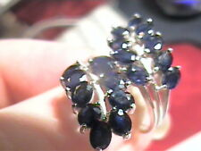 BLUE SAPPHIRE RING 5.75 ELEGANT COCKTAIL STERLING SILVER 925 WHITE GOLD natural