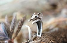 Mouse Animal Ring Adjustable Silver Finger Wrap Ring Size 4 to 6