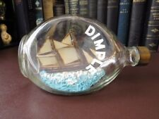 Vintage Ship In A Bottle - Hand Made Ship In A Dimple Bottle