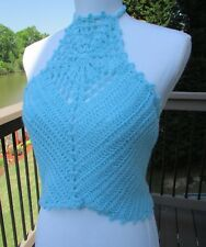 Blue Top/Crochet//Summer/handmade/Lace/Sleeveless/Crop/Halter/Boho/Hippie