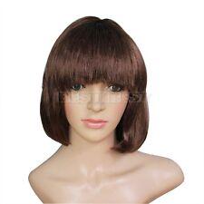 Mignon Droite Courte BOB Cheveux Postiche Courte Perruque Accessoire Partie Brun