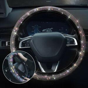 38cm Bling Crystal Car Steering Wheel Cover Decor Rhinestone Diamond Girl Lady